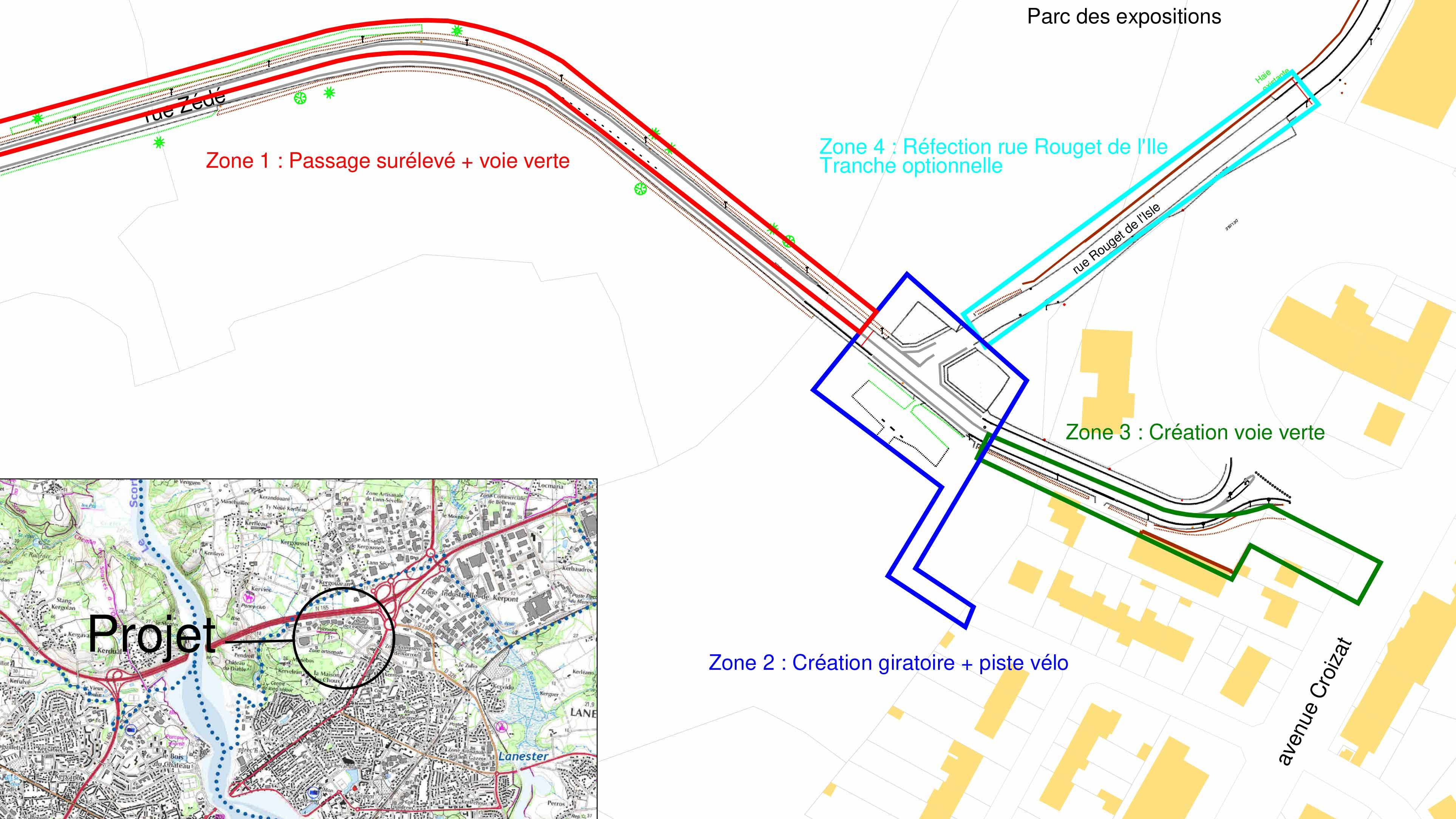 Plan situation travaux Manebos Lanester